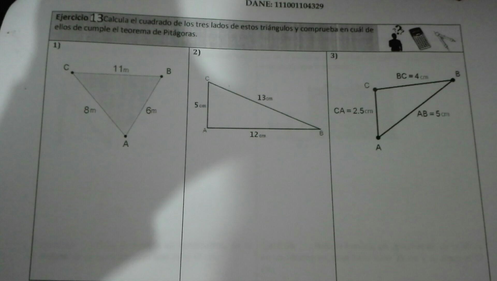 calcula el cuadrado de los tres lados de estos triangulos y ...
