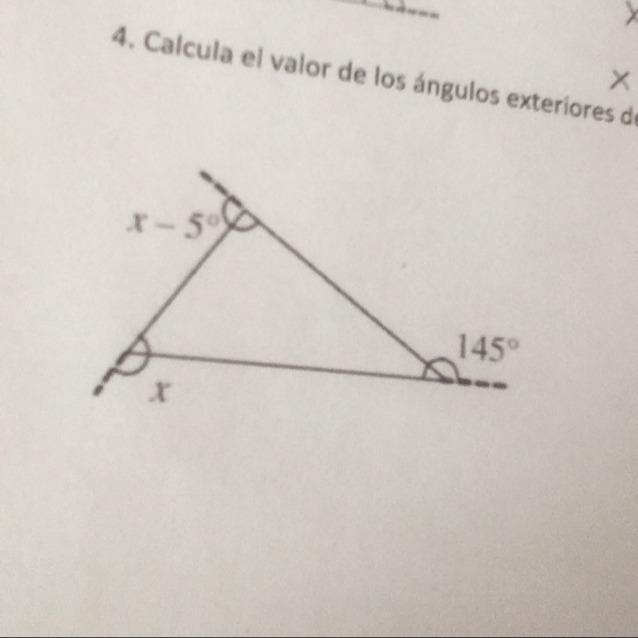 Calcula El Valor De Los ángulos Exteriores Del Siguiente Triangulo Brainly Lat