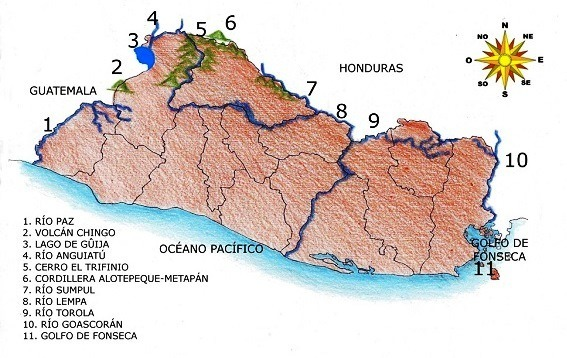 Mapa De El Salvador Con Sus Fronteras Naturales Y Administrativas Brainly Lat